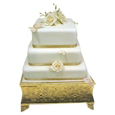 GiftBay Creations Wedding Cake Stand Square Silver Finish 14-inch Square