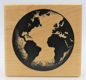 Explorer World Globe of Planet Earth Rubber Stamp for Stamping Crafting Planners