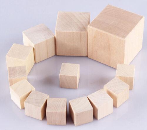 Natural Wooden Round Half Balls Cylinder Square Cubes Blocks DIY Craft Hardwood