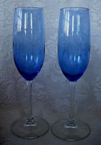 Pair of Cobalt Blue//Crystal Champagne Toasting Flutes