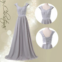 Grey LONG Mother Of The Bride/Groom Formal Evening Wedding Guest Ball Maxi Dress