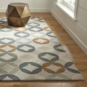 Crate & Barrel Destry Contemporary Parsian Style Handmade Woolen Rugs & Carpet