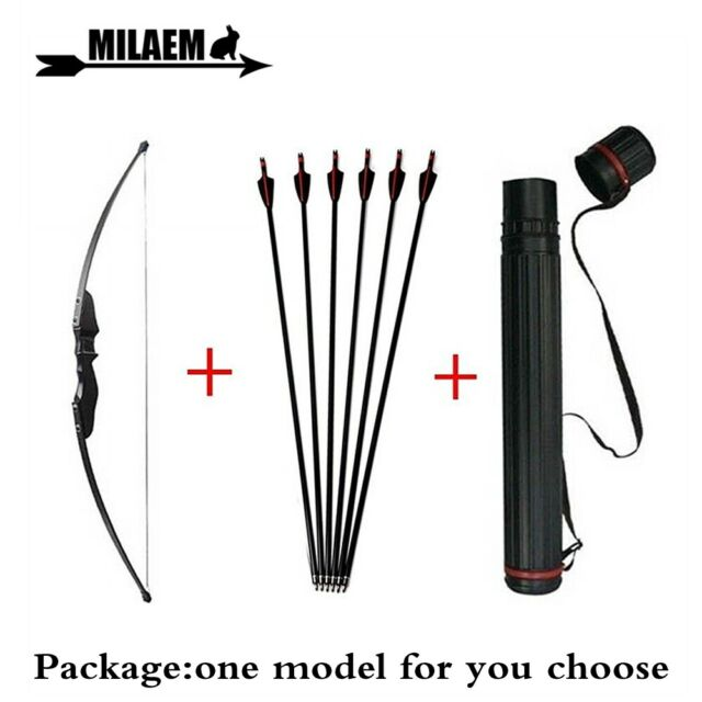 Takedown Recurve Bow Archery Set Arrows Hunting Right Hand Adult 55lbs Package