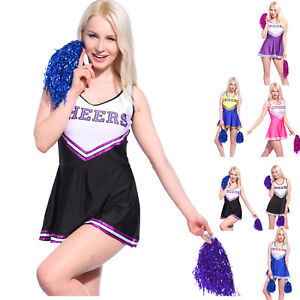 0030a06d Details about Girls Glee Cheerleader Clothes Outfit Ladies Cheerleading  Costumes + Pom Poms