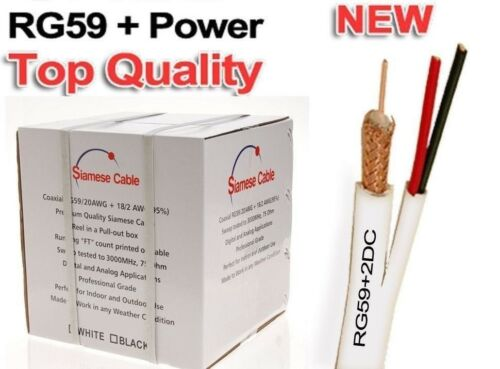 WHITE RG59 SIAMESE CABLE 500FT 95/% BRAID SECURITY CAMERA WIRE CCTV VIDEO POWER