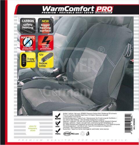 Lenkradbezug Heyner 12V Premium Carbon Sitzheizung beheizbarer Sitzbezug inkl