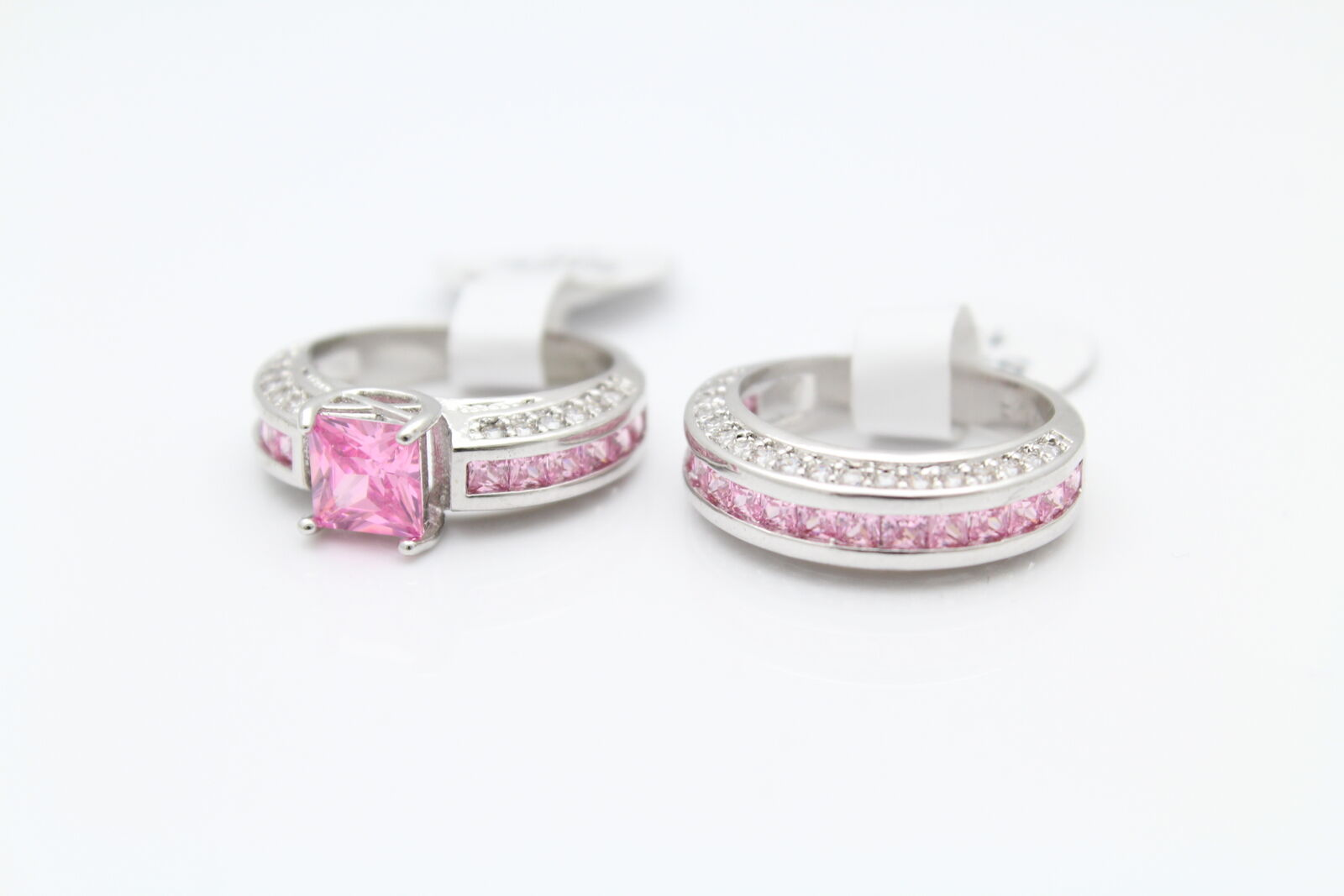 Bridal Ring Set With Imitation Pink Sapphires & CZs in 10K gold Filled Size 5