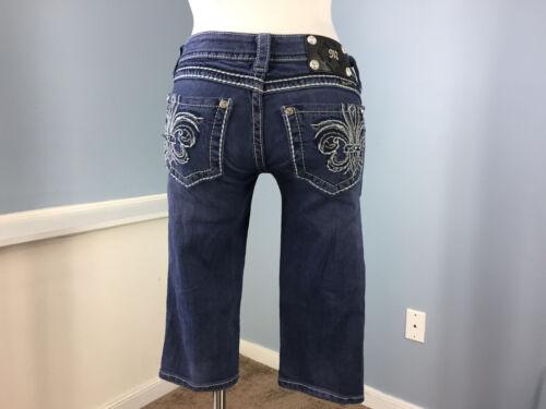scuro lavato Jeans con 27 impreziosita Bermuda smalto Miss effetto Me smerigliati Tasca wqxvUagw