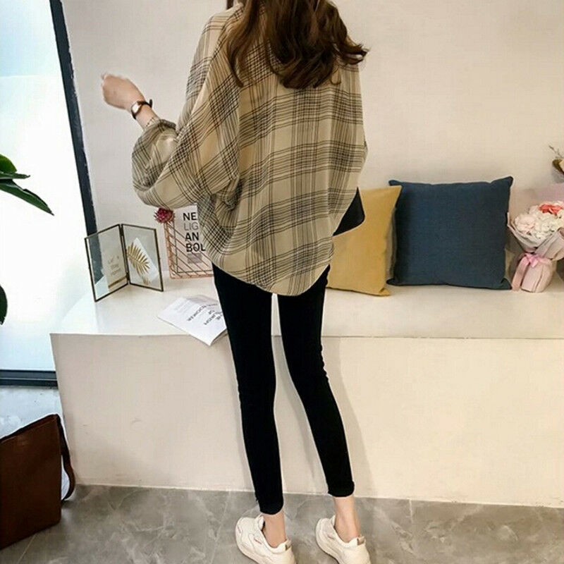 Women Plaid Shirts Batwing Sleeve Chiffon Blouses Tops Plus Size Tartan Blusa JF
