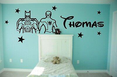 bat man and spider boys personalised wall vinyl sticker bedroom baby nursery kid