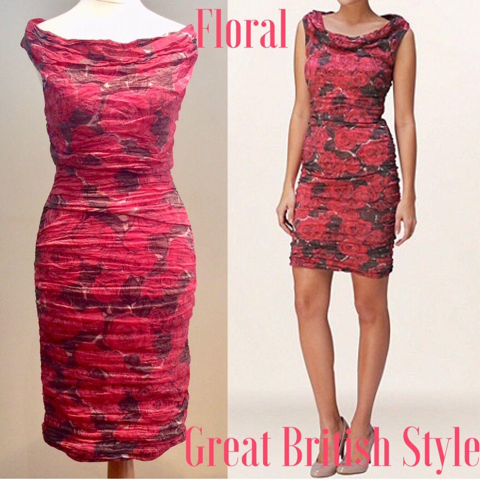 PHASE EIGHT DRESS Größe 8 UK Rosa Rosa PRINT STRETCH BODYCON LINED ZIP WEDDING
