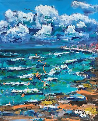 BEACH Abstract Original Fine Art PAINTING DAN BYL Modern Contemporary Huge 4x5ft