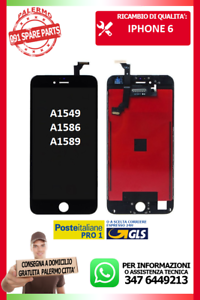 LCD-TOUCH-SCREEN-VETRO-DISPLAY-SCHERMO-PER-IPHONE-6-NERO-A1549-A1586-A1589-NUOVO