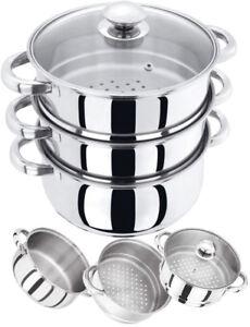 Niveau 3 Plaque à Induction En Acier Inoxydable 22 Cm Steamer Pot Pan Cuisinière Set Couvercle En Verre-afficher Le Titre D'origine Le Prix Reste Stable