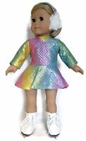 Rainbow Sequin Skating Dress & Earmuffs Made For 18 American Girl Doll Clothes