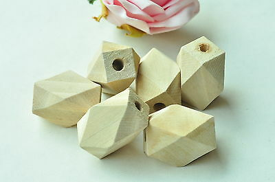 10pcs Oblong Unfinished Natural Wood Bead 14 Hedron Geometric Solid Wooden Punk