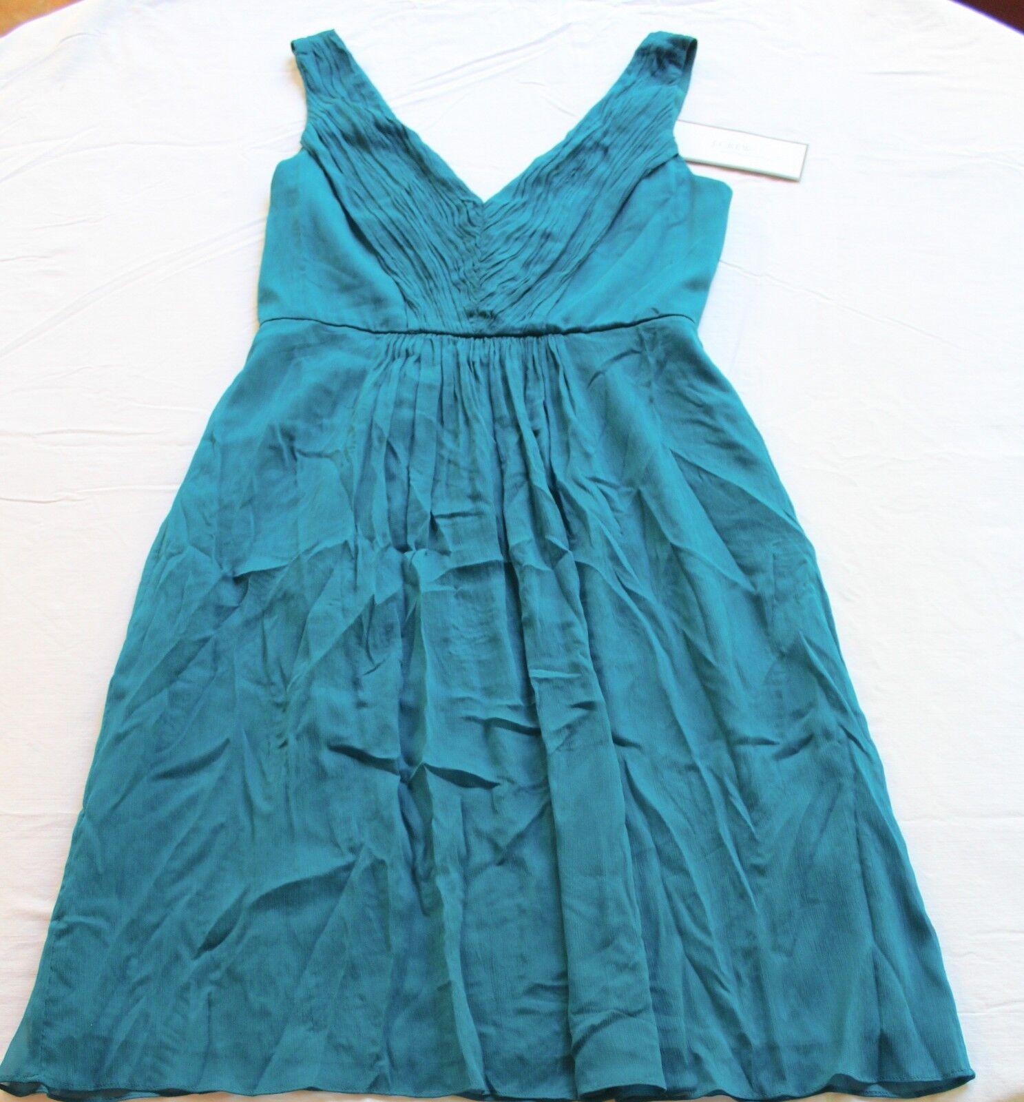 J CREW Womens blueE SLEEVELESS LOUSIA LOW CUT PLEATED 100% SILK DRESS NWT Size 6