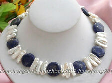 "17.5"" 12mm nature coin lapis white biwa pearl necklace  HK/22---113"