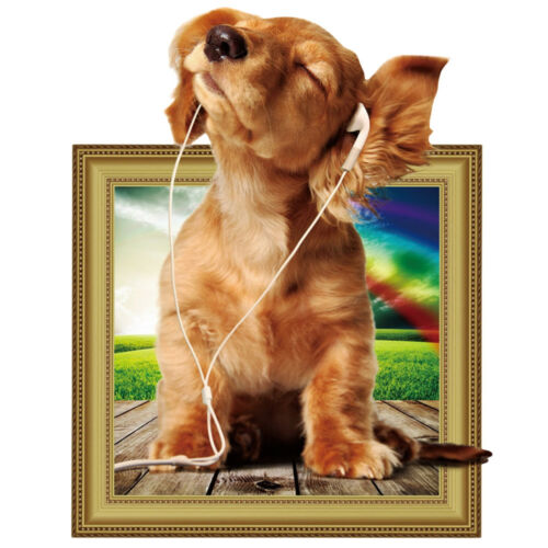 Home 3D Cute Dog Puppy Listening To Music PVC Wall Sticker Art Decor Murals Gift