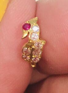 PEACOCK-BOHO-22kt-gold-nose-ring-pin-HOOP-India-18-gauge-CRYSTALS-USA-SELLER-24
