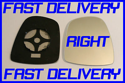 Right Driver side Flat Wing door mirror glass for Vauxhall Vivaro 2001-14 heated