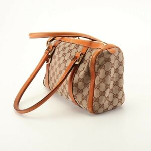 Gucci-Brown-GG-Canvas-Leather-Baguette-Tote-Hand-Bag-Purse-Authenticated-2a