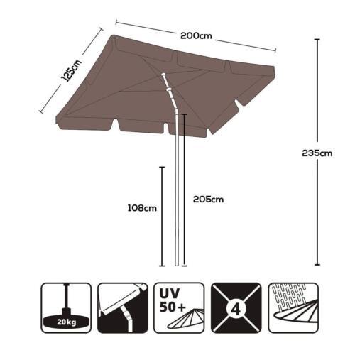Sonnenschirm Sonnenschutz UV50 200x125cm Marktschirm Cappuccino Terrassenschirm