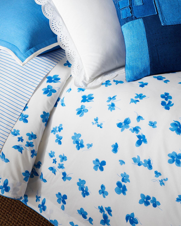 Neu Ralph Lauren Georgica Maylen Bettdecke Blumenmuster Weiß Blau King