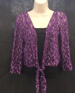 M-amp-S-Per-Una-Purple-Lace-Shrug-Bolero-Black-Vest-Set-2-Piece-UK-12-CO38