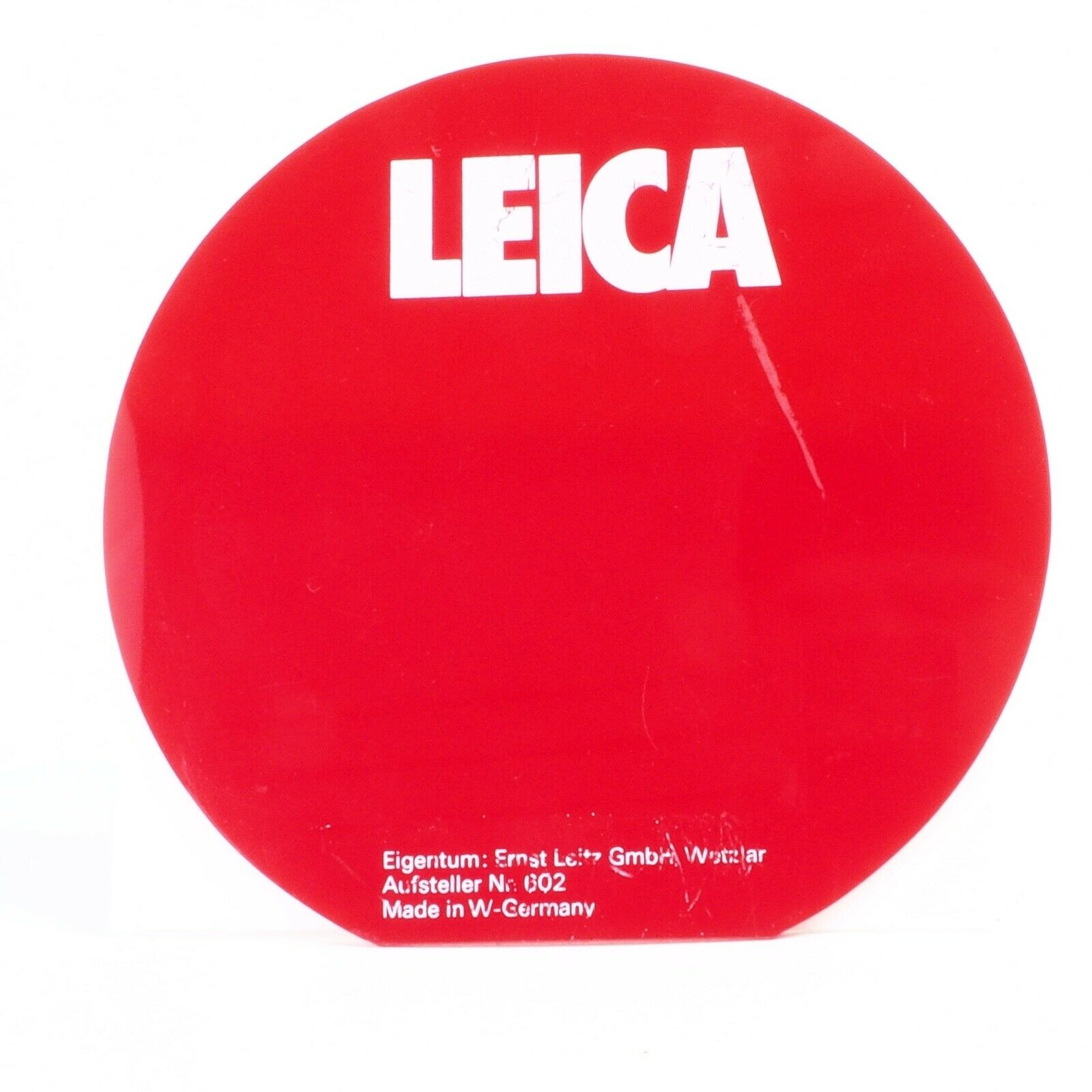 ^ Rare LEICA Red and White Display Backdrop [Missing Bottom Half - West Germany]