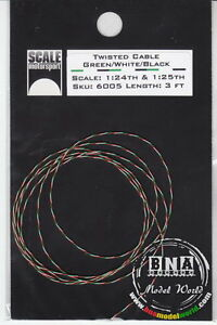 Scale Motorsport 1/24, 1/25 Green/White/Black Twisted Tri-colour Cable Wire