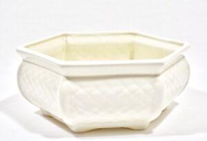 Vintage Haeger Pottery Ivory White Quilted Hexagon Planter Succulent Garden Pot