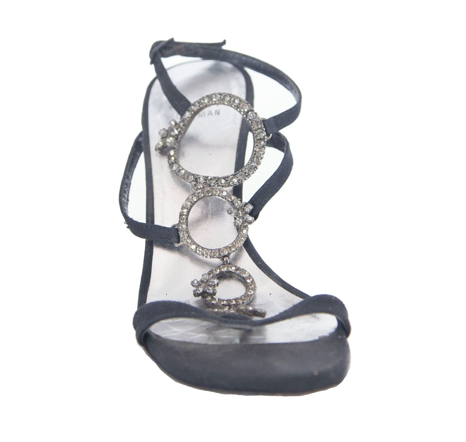 Stuart Weitzman black satin open-toe sandals with with with crystal detail size 6.5 2abd91