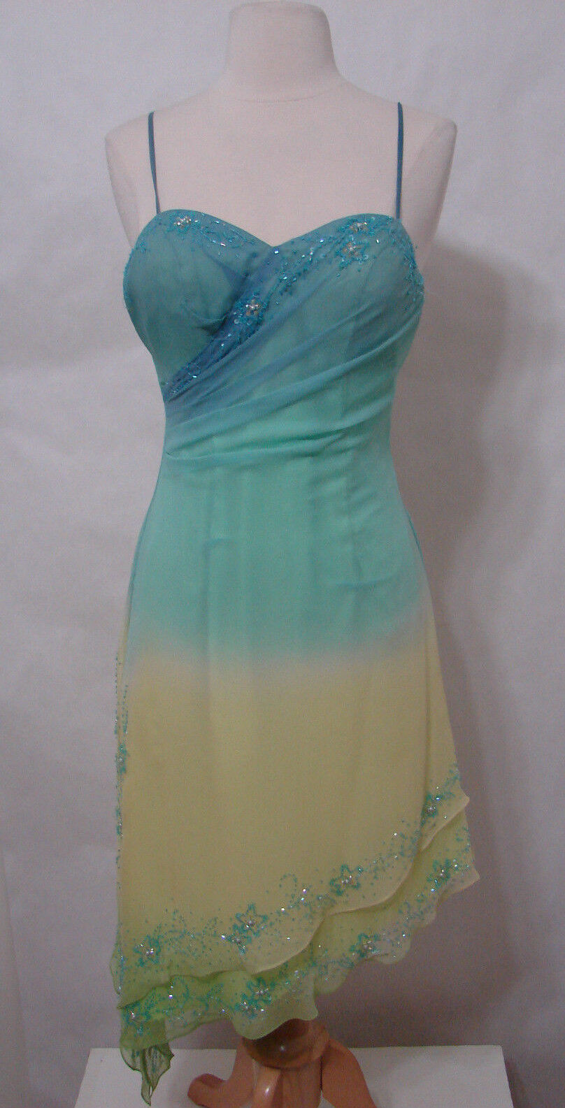 MAGGIE SOTTERO Flirt 100% Silk Teal Yellow Beaded Asymmetrical Hem Dress 4