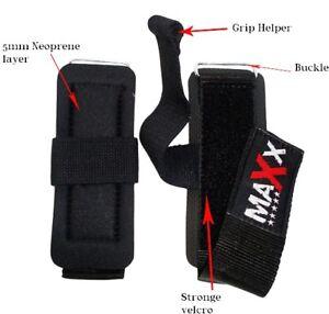 Maxx Pro Weight Lifting Training Gym Straps Hook Bar Gel Gloves Wrist Support