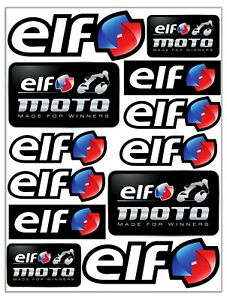 Set-12-PVC-Vinyle-Autocollants-Elf-Petrole-Oil-Racing-Stickers-Voiture-Moto-Auto
