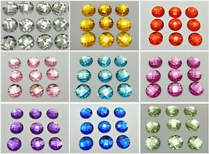 100-Acrylic-Flatback-Faceted-Round-Rhinestone-Gems-16mm-No-Hole-Pick-Your-Color