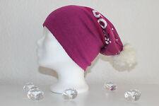 Neu Billabong Mütze Damen Mädchen Kinder Bommel lila weiß Polyacryl