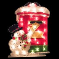 LED Window Silhouette Light Up Christmas Decoration Santa Snowman Posting Letter