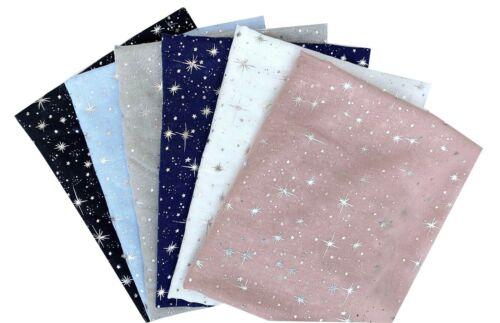 Shining Silver Star Foil Print Glitter Sparkle Metallic Lightweight Scarf Shawl