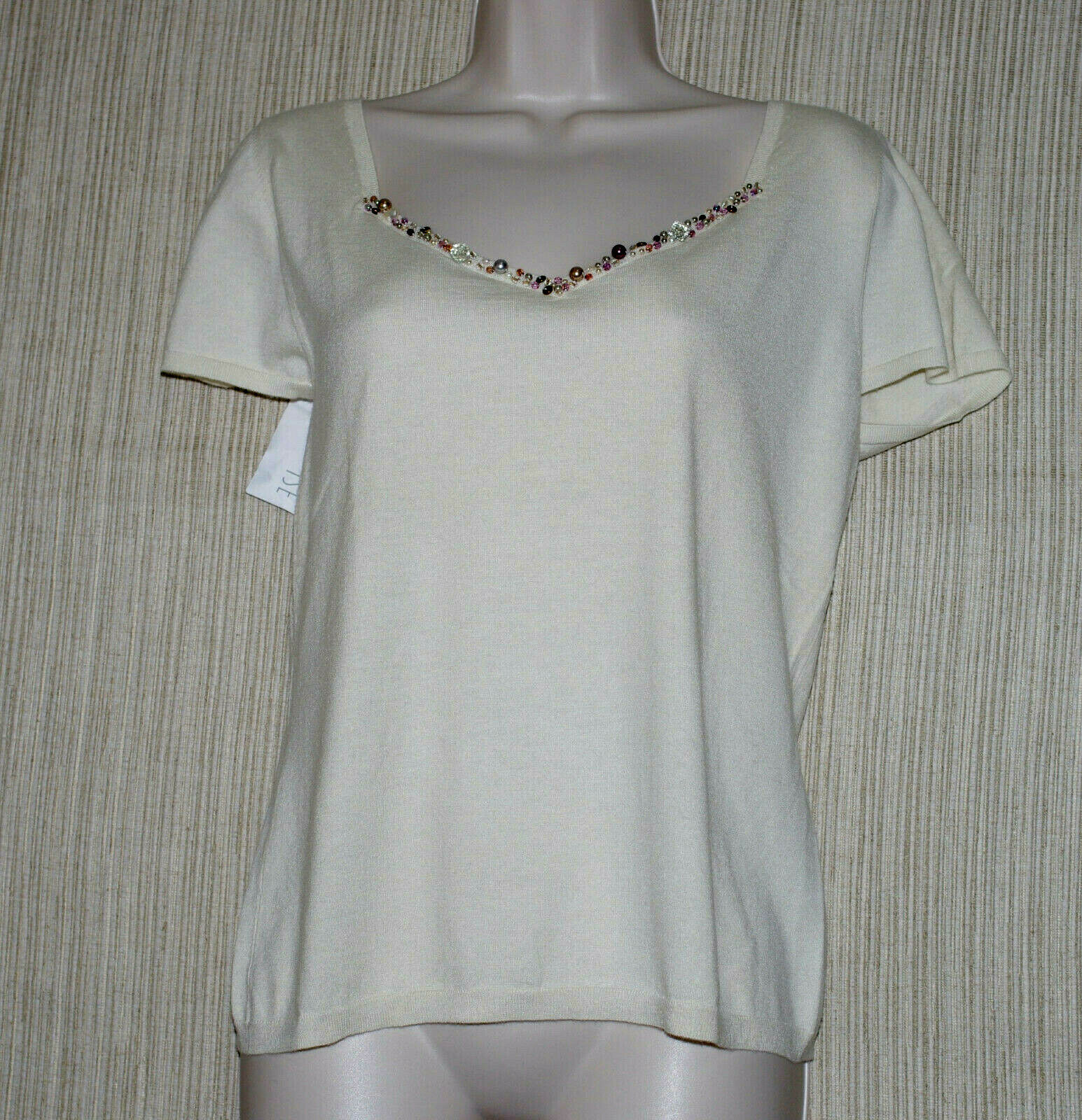 TSE Cashmere Silk Blend Cap Sleeve Beaded Crew Neck Weiß Sweater Größe L