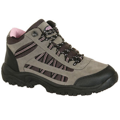 Womens Ladies Trail Trek Hiking Lace Up Ankle Boots Grey Pink Synthetic Nubuck