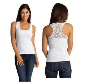 9f496d36e White Ribbed Tank Top with Lace Racerback - Regular & Plus Sizes S ...