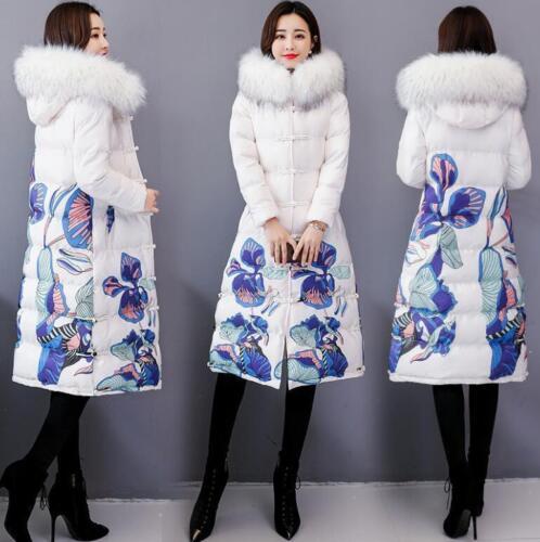 de fleurs en et col avec fourrure veste duvet à Veste coréenne matelassée en en coton motif 8XwxXq7fH