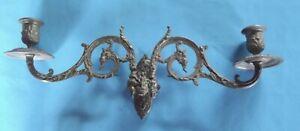 Ancienne-Paire-Chandelier-Porte-Tete-Bacchus-Belier-Mythologie-Bronze-PINET-N-91