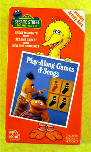 Sesame-Street-Play-Along-Games-amp-Songs-VHS-Video-Rare-Original-Green-Tape