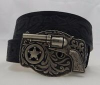 Justin Trigger Happy Tooled Taper Black Leather Belt Size 36 C11873