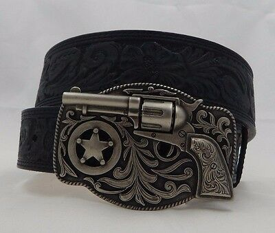 Justin New TRIGGER HAPPY Tooled Taper Black Leather Belt  Size 36 C11873