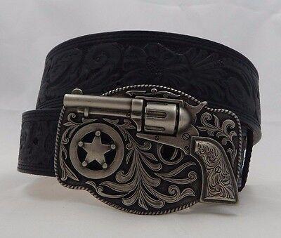 Justin New Happy Trigger Tooled Taper Black Leather Belt  Size 36 C11873
