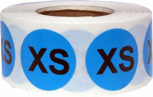 3X 3//4 Inch Round Blue Circle Clothing Size Stickers 500 Total Sizes XXS